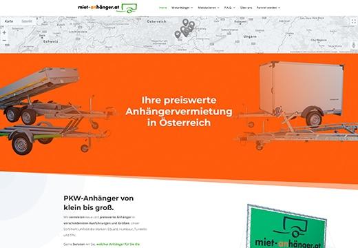 Webseiten Referenz Miet-Anhänger.at, Screenshot von Webseite Miet-Anhänger.at