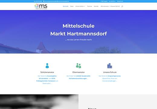 Webseiten Referenz ms-hartmannsdorf.at, Screenshot von Webseite ms-hartmannsdorf.at