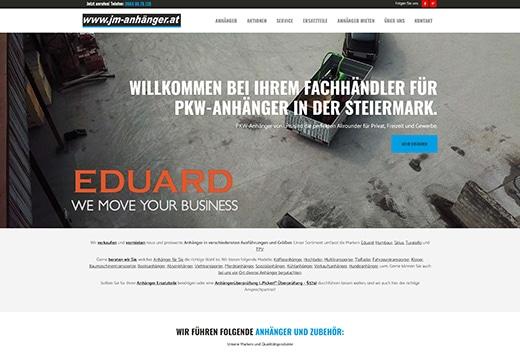 Webdesign für JM-Automobile, PKW-Anhänger Verkauf und Vermietung, neue Website