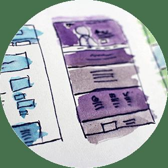 Re-Design Webseite, Konzept neues Design, Zeichnung, Hand-Zeichnung
